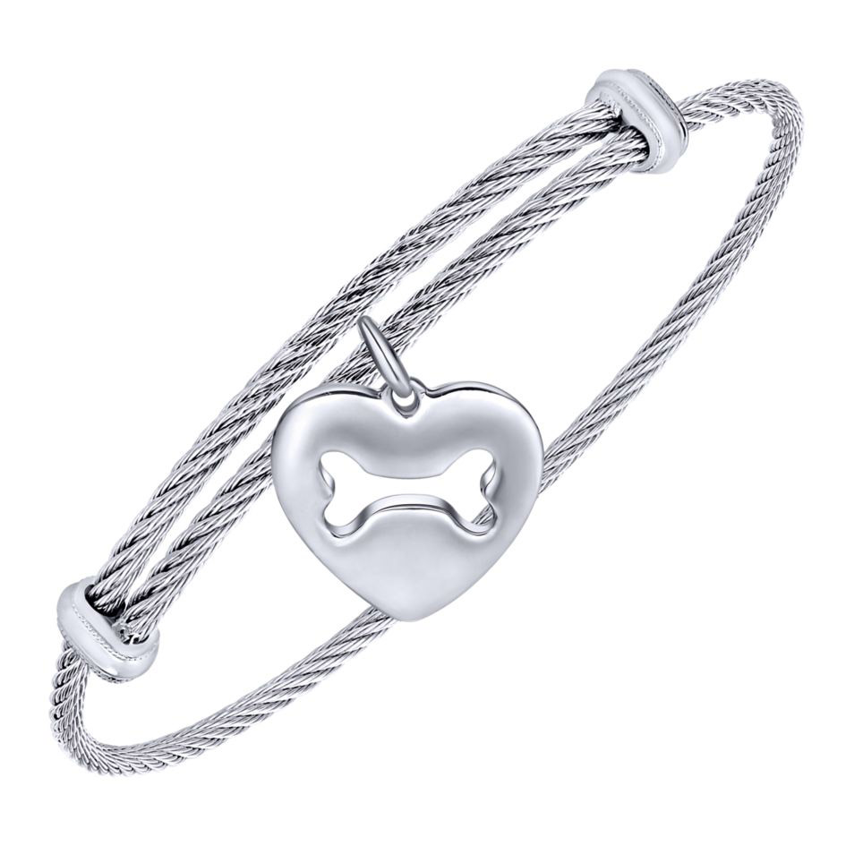 How Much Are Charm Bracelets: Gabriel Sterling Silver Heart Dog Bone Charm Bangle
