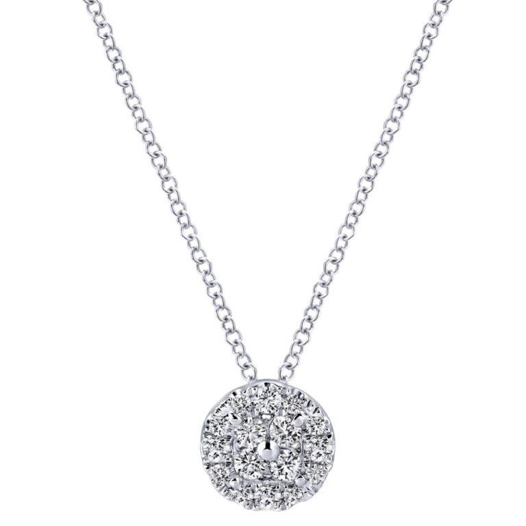 GABRIEL & CO 14K W.Gold Diamond Necklace NK3301W44JJ