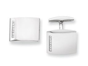 CONTEMPO Stainless Steel CZ Cuff Links