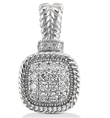 14KT White Gold & Diamond Pendant for Mother's Day