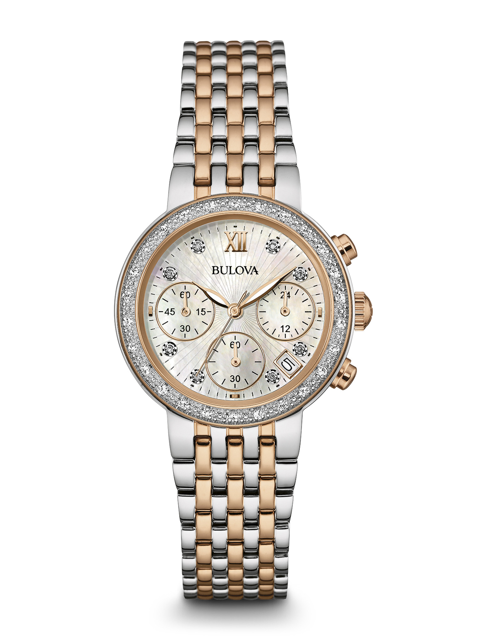 Women S Bulova Diamond Chronograph Watch 98r215 Long
