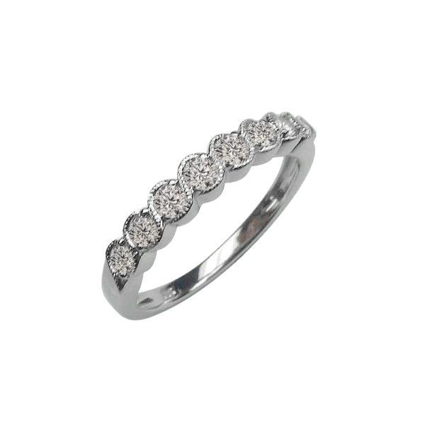 LADY'S 14KT WHITE GOLD WEDDING BAND WITH BEZEL SET ROUND DIAMONDS-MSR0592-001
