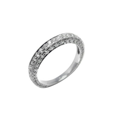 LADY'S 14KT WHITE GOLD WEDDING BAND WITH ROUND DIAMONDS-PJR0857A-002