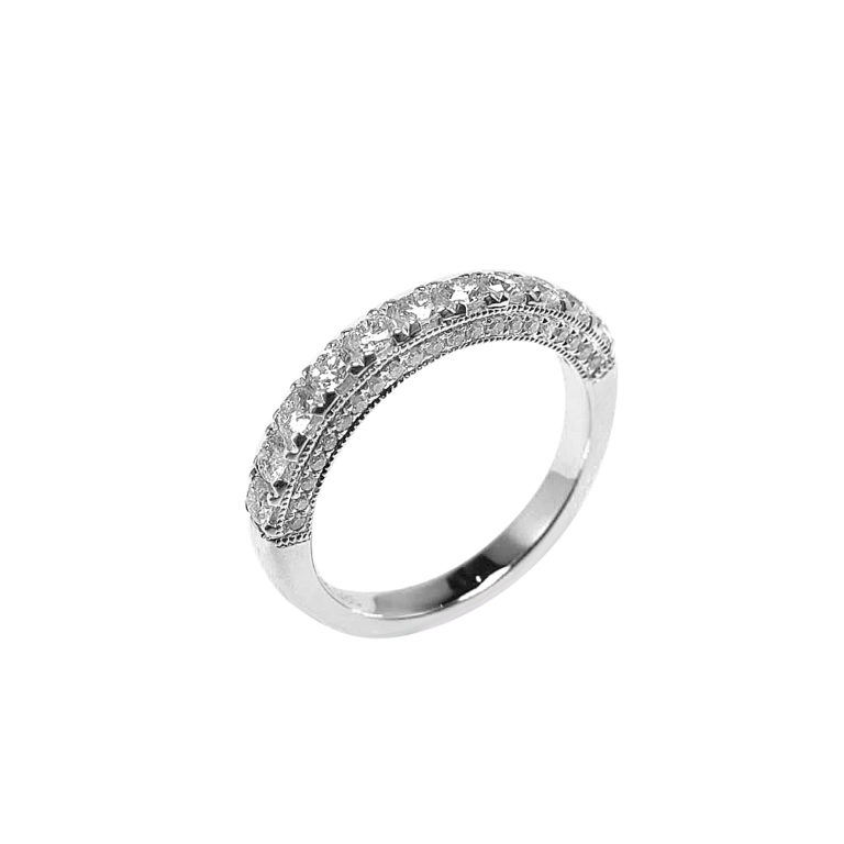 LADY'S 14KT WHITE GOLD WEDDING BAND WITH ROUND DIAMONDS-PJR3049-005