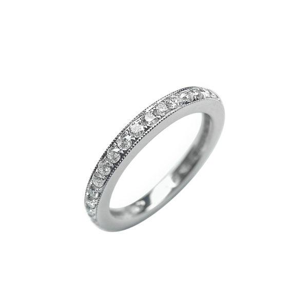 LADY'S 14KT WHITE GOLD WEDDING BAND WITH ROUND DIAMONDS-SHR7082-002