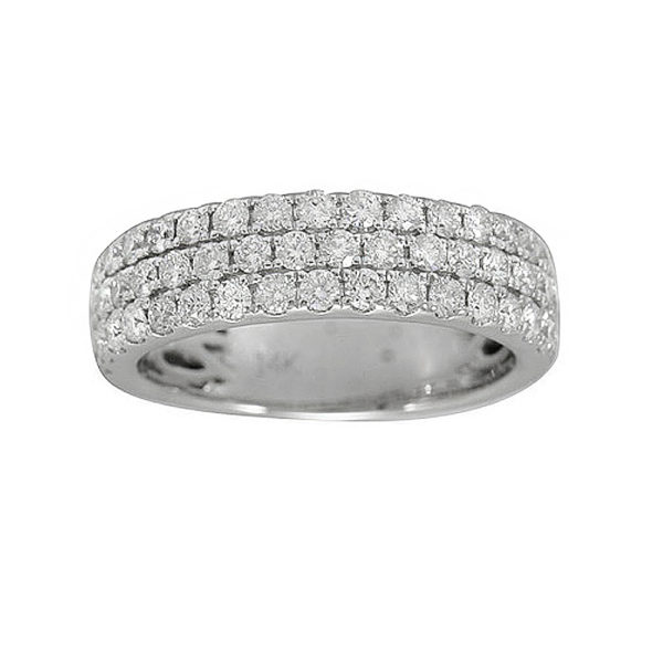LADY'S 14KT WHITE GOLD WEDDING BAND WITH TRIPLE ROW OF ROUND DIAMONDS-YKR00488-002