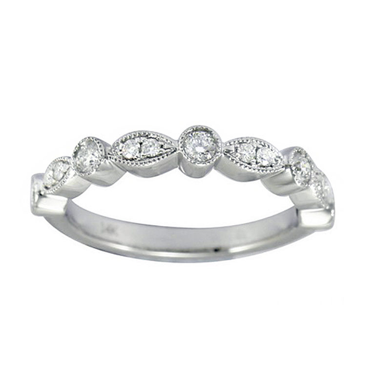 LADY'S 14KT WHITE GOLD WEDDING BAND WITH DIAMONDS-YKR00490-001