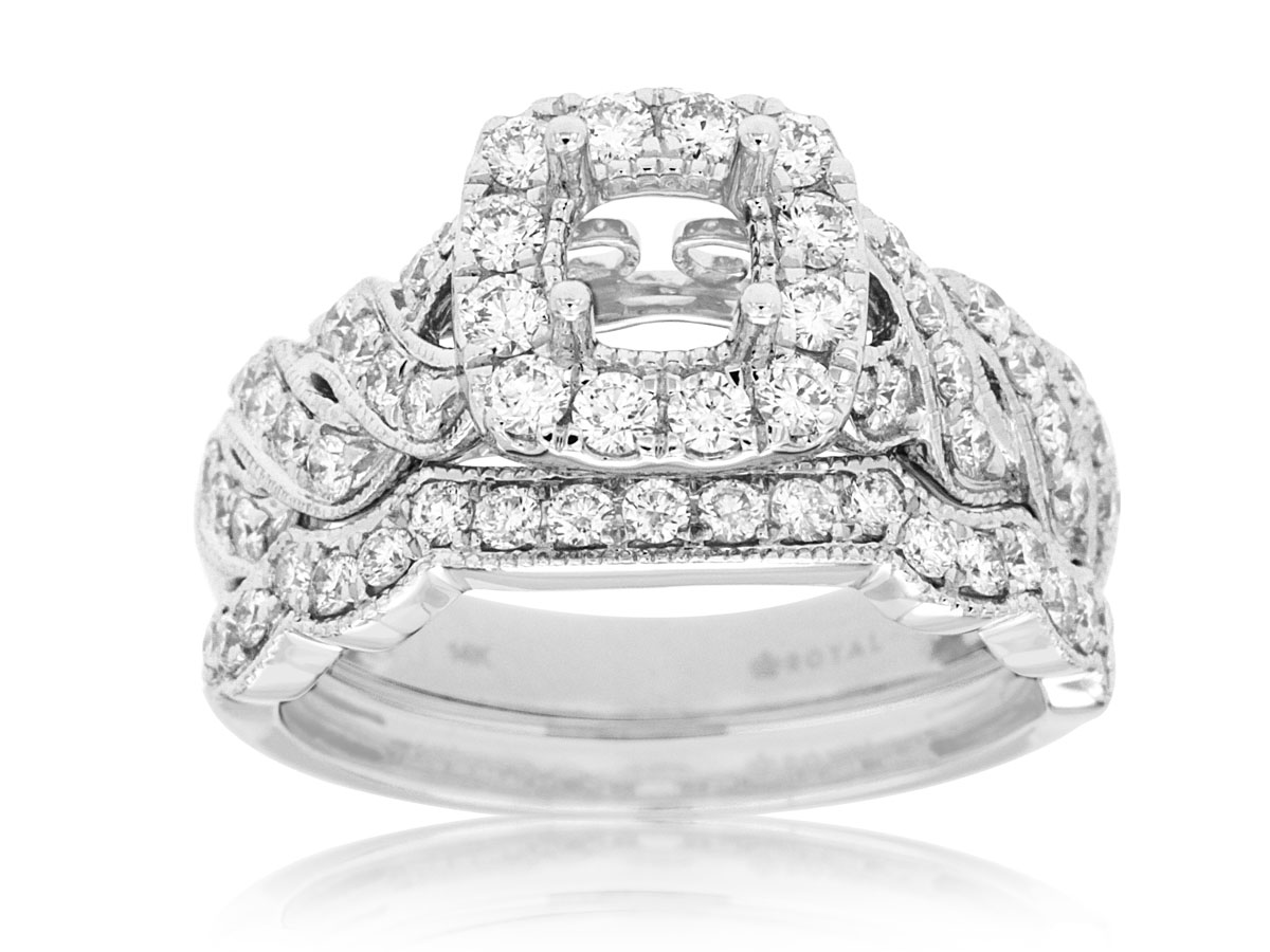 14kt white gold diamond engagement ring with matching for Long island wedding bands