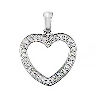 14KT WHITE GOLD OPEN HEART PENDANT WITH ROUND DIAMONDS-AR1870-002