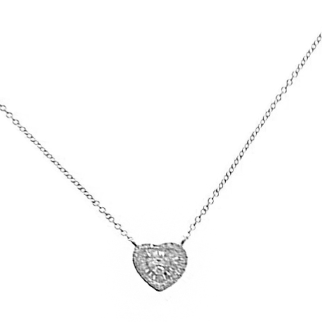 14KT WHITE GOLD HEART NECKLACE WITH ROUND DIAMONDS AND BAGUETTE DIAMONDS-AR2959