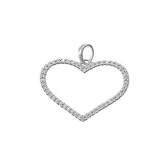 14KT WHITE GOLD OPEN HEART PENDANT WITH DIAMONDS-AR3032-001