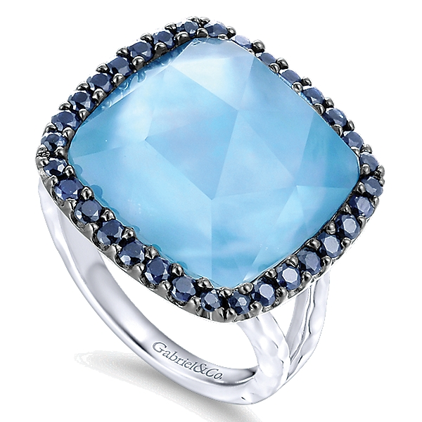STERLING SILVER RING WITH ROCK CRYSTAL AND WHITE MOTHER OF PEARL ,TURQUOISE AND SAPPHIRES-LR51202SVJMC