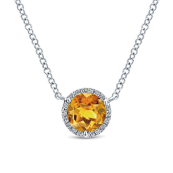 14 KT WHITE GOLD PENDANT WITH CITRINE AND DIAMONDS-NK4616W45CT