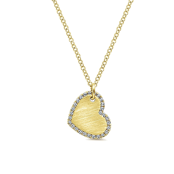 14 KT YELLOW GOLD HEART PENDANT WITH DIAMONDS-NK5198Y45JJ