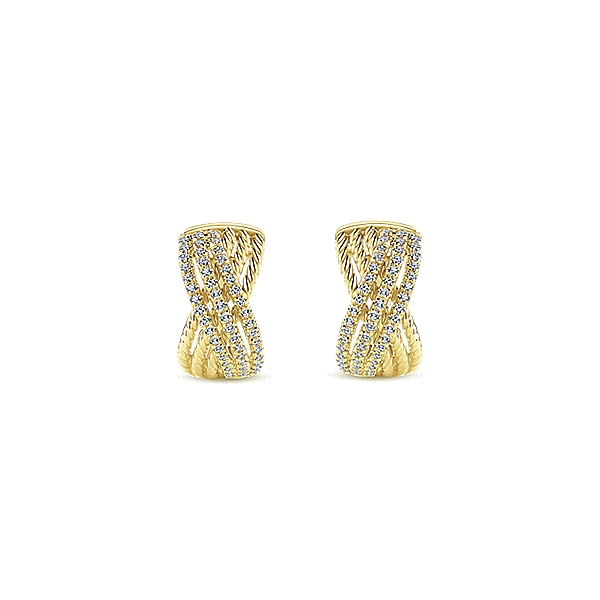 14 kt yellow gold huggie earrings with diamonds for Burnell s fine jewelry