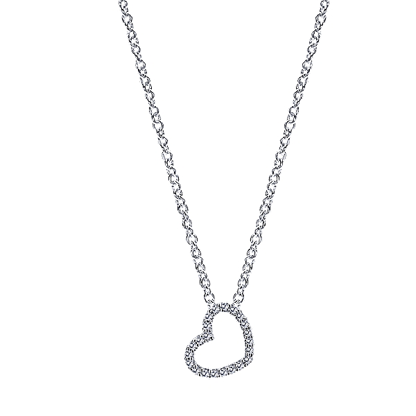 14 KT WHITE GOLD HEART PENDANT WITH DIAMONDS-NK2239W45JJ