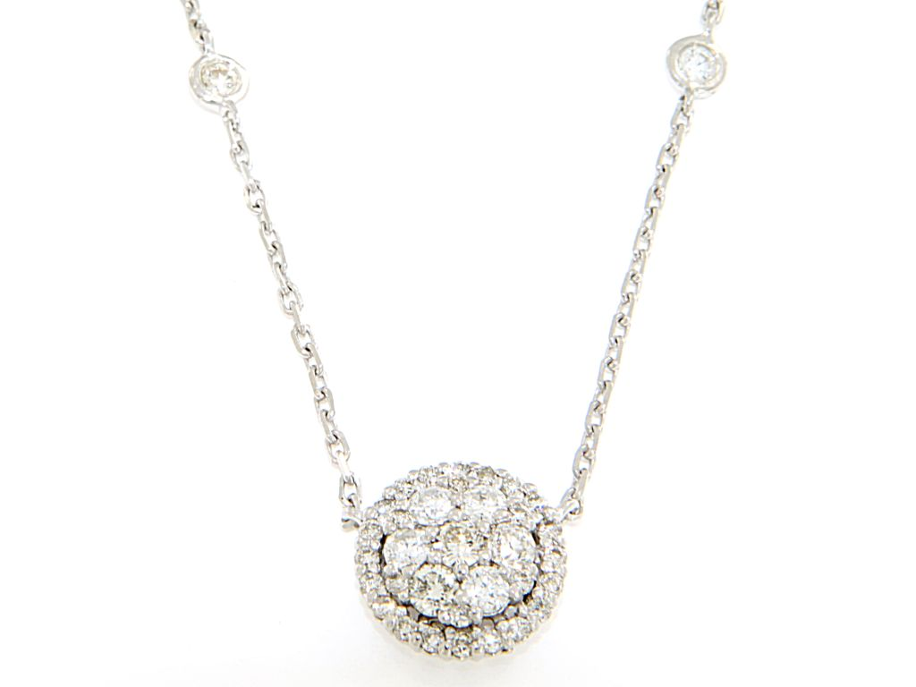 14 kt white gold diamond cluster pendant with diamonds on 16 14 kt white gold diamond cluster pendant aloadofball Gallery