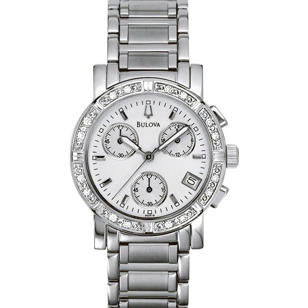 Women's Bulova Diamond Chronograph Watch 96R19