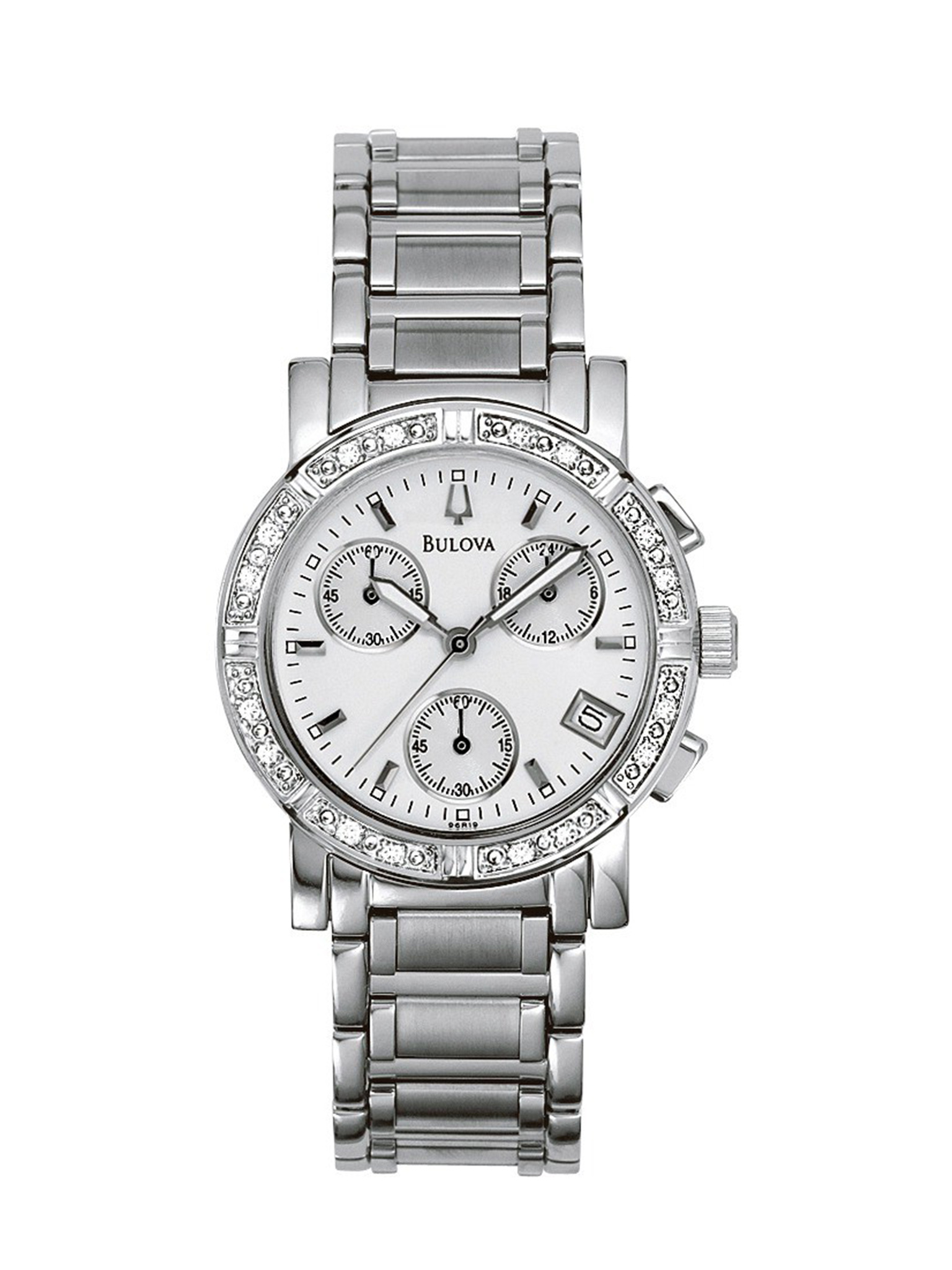 Women S Bulova Diamond Chronograph Watch 96r19 Long