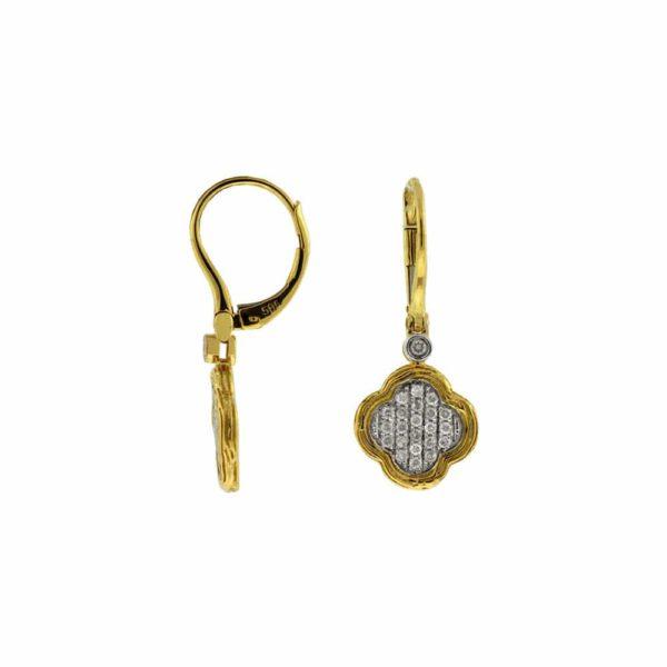 14k Yellow Van Cleef design Satin Drop Earrings