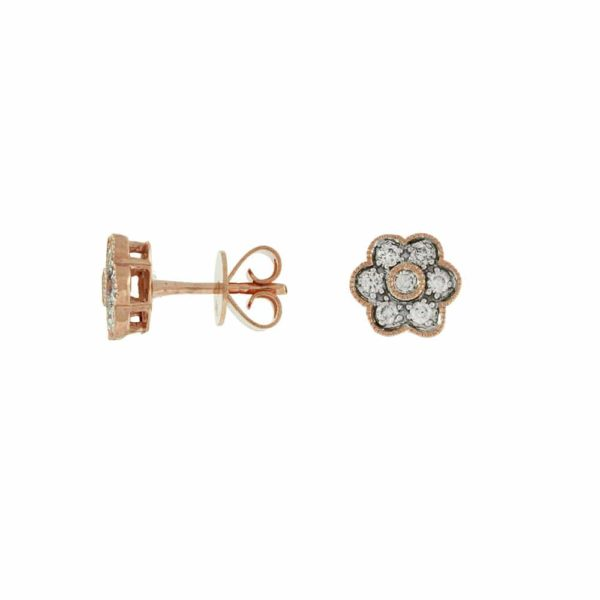 14k Rose Flower Shape Diamond Stud Earrings