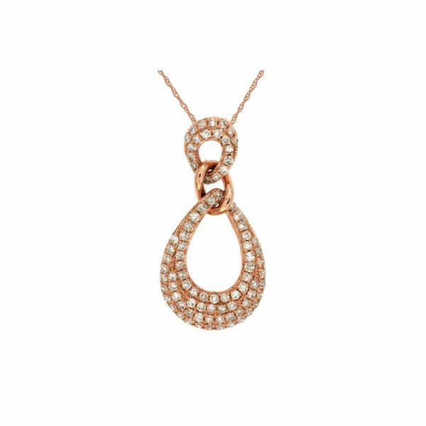 14k Rose Diamond Pave Drop Pendant