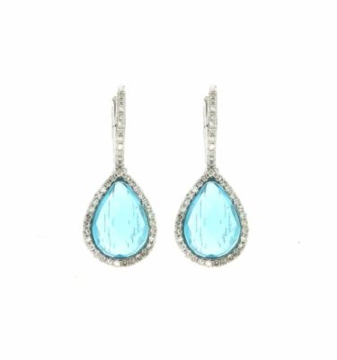14k White Drop Diamond Earrings With Pear Blue Topaz Lever Back