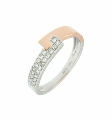 14k Rose and White Contemporary Diamond Fashion Ring