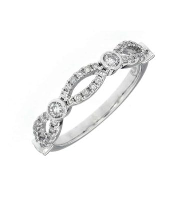 14k White Bezel And Open Pave Diamond Ring