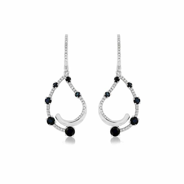 14k White Swirl Drop Diamond Earrings With Sapphires