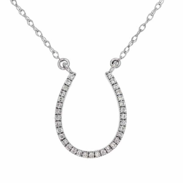 14k White Diamond Horse Shoe Drop Pendant