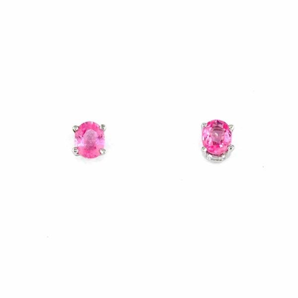 14k White Stud Earrings with Oval Sapphires