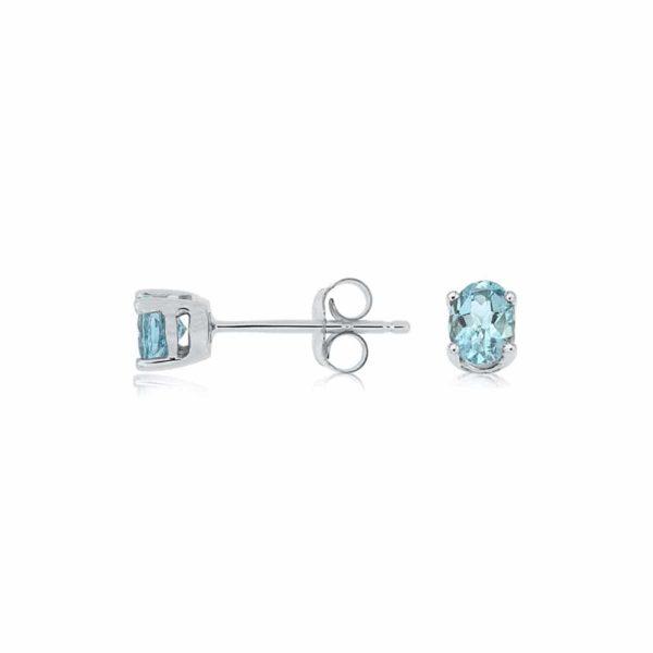 14k White Oval Aqua Marine Stud Earrings