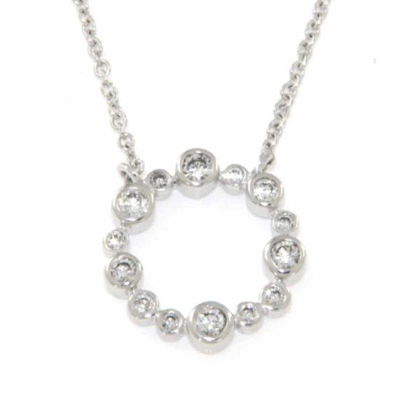 14k White Multi Bezel Round Diamond Drop Pendant