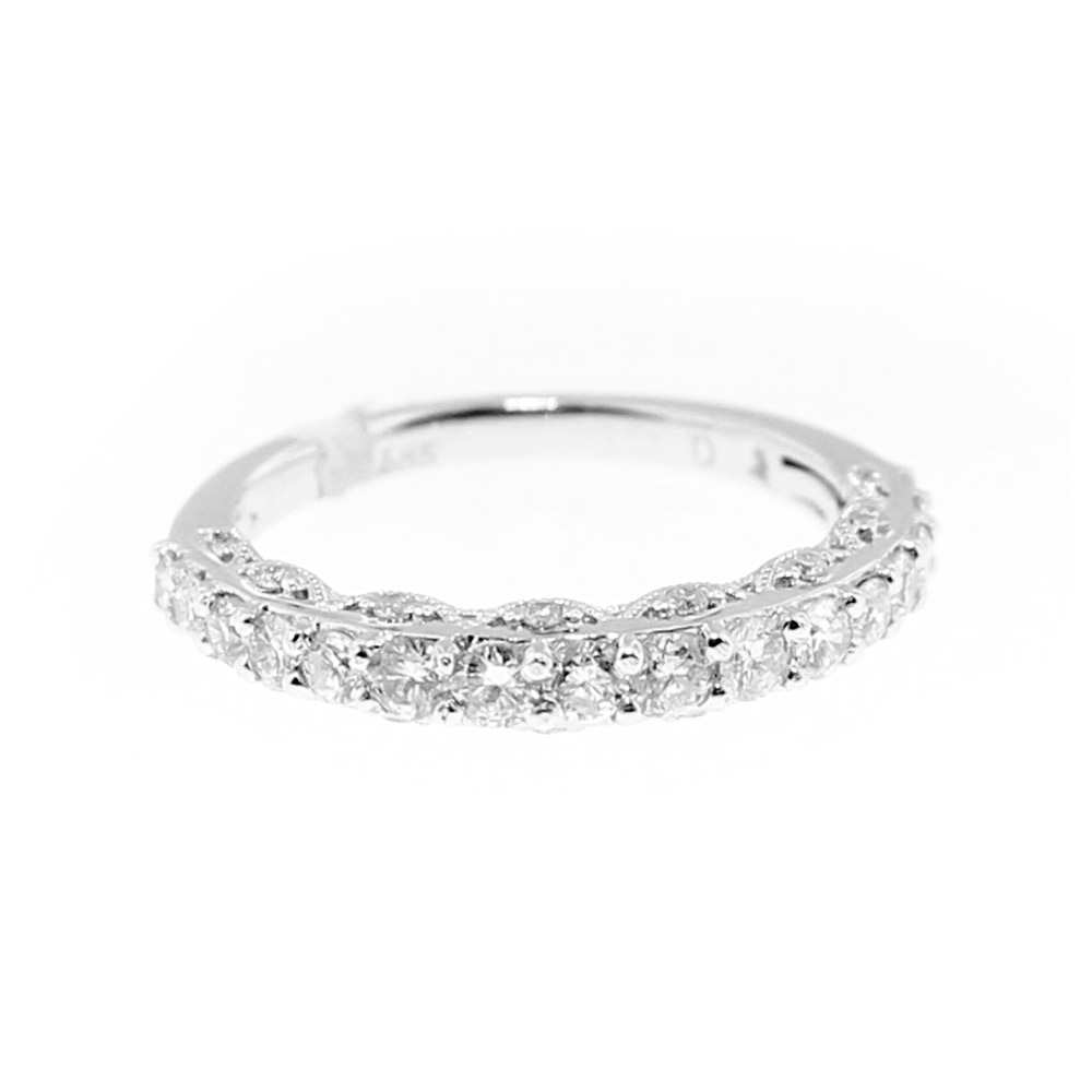 14k Shared Prong And Pave Profile Wedding Band: Shared Prong Pave Wedding Band At Reisefeber.org