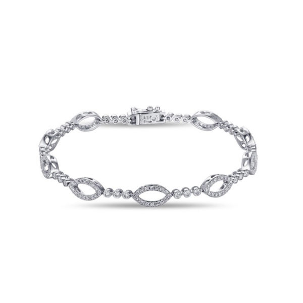 Jewelry Store Near Me - Lady's White 14 Karat Pave Marquise Shaped Tennis Bracelet Length 7 With 184-1.20Tw Round Diamonds