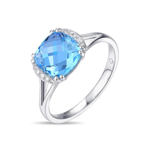 Jewelry Store Near Me - Lady's White 14 Karat Checkerboard Cushion Cut Blue Topaz & Diamond Fashion Ring With 10=0.04Tw Round Diamonds And One 3.43Ct Square Cushion Blue Topaz