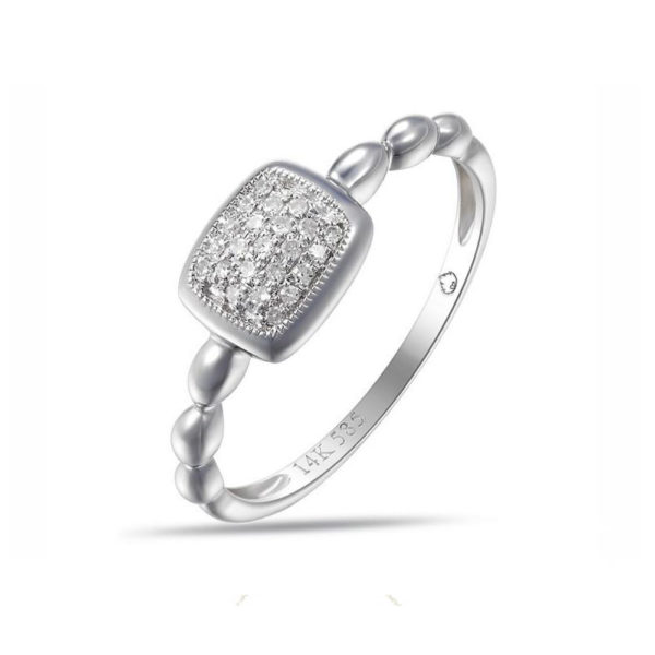 Jewelry Store Near Me - LADY'S WHITE 14 KARAT SQUARE PAVE SET FASHION RING WITH 23 ROUND DIAMONDS