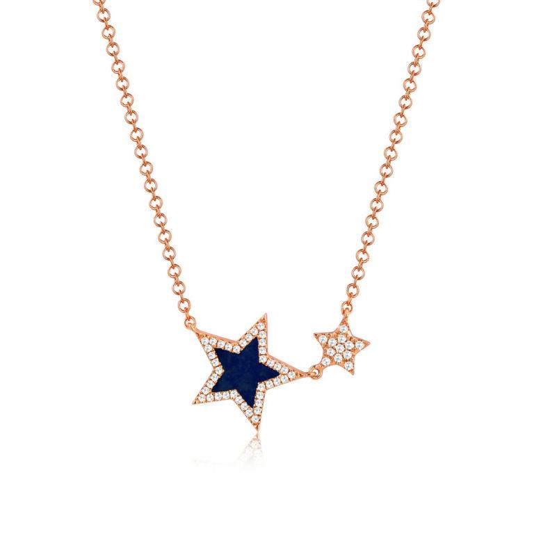14k Rose Gold Blue Lapis Star And Diamond Pendant-MN00783LARG