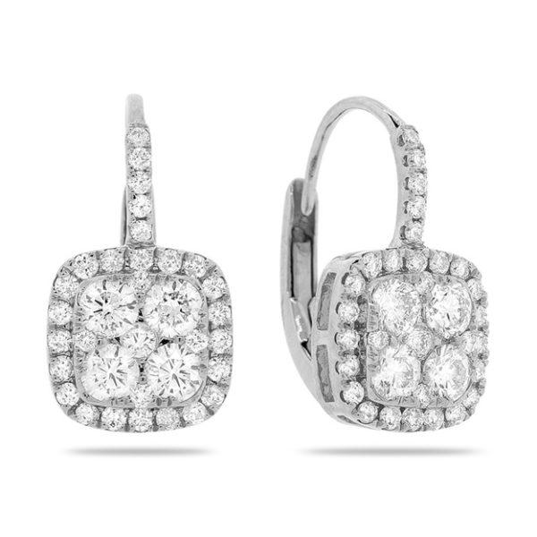 14k White Gold Cushion Shaped, Lever Back, Diamond Cluster Earrings-PJE3769B
