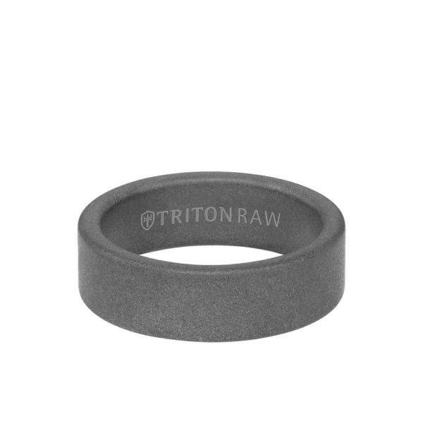 TritonRAW Sandblasted Matte Finish Flat Edge Ring 11-RAW0101C7- flat view