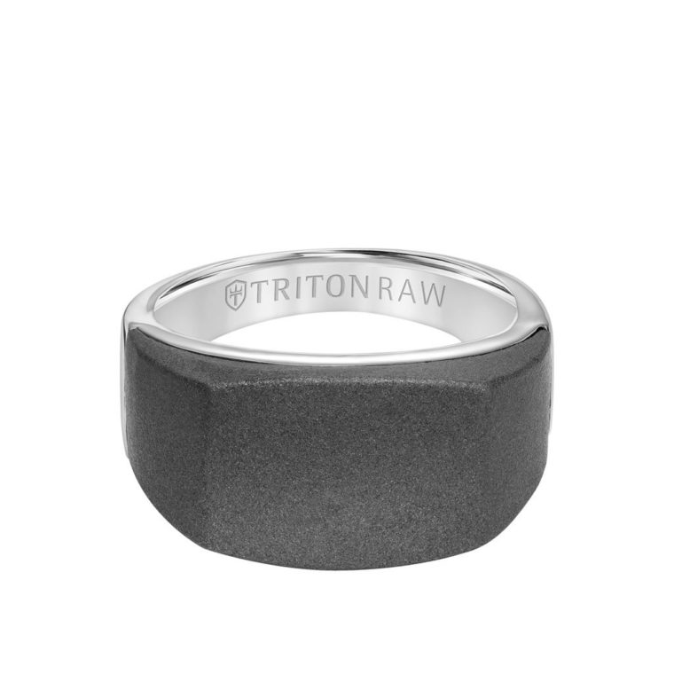 Sandblasted Tungsten Raw with Silver Signet Ring