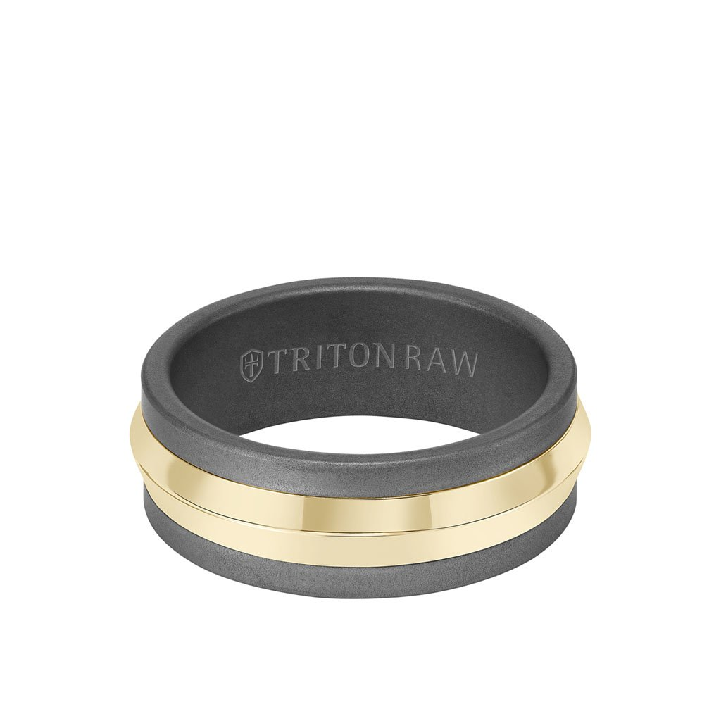 14k Matte Gold Core Knife Edge Outside with Tungsten Raw Carbide Smooth Matte Inside Ring