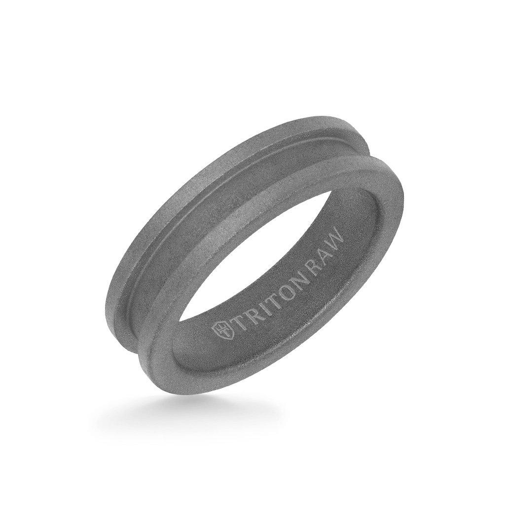 Sandblasted Matte Finish Tungsten Raw Slot Profile Ring