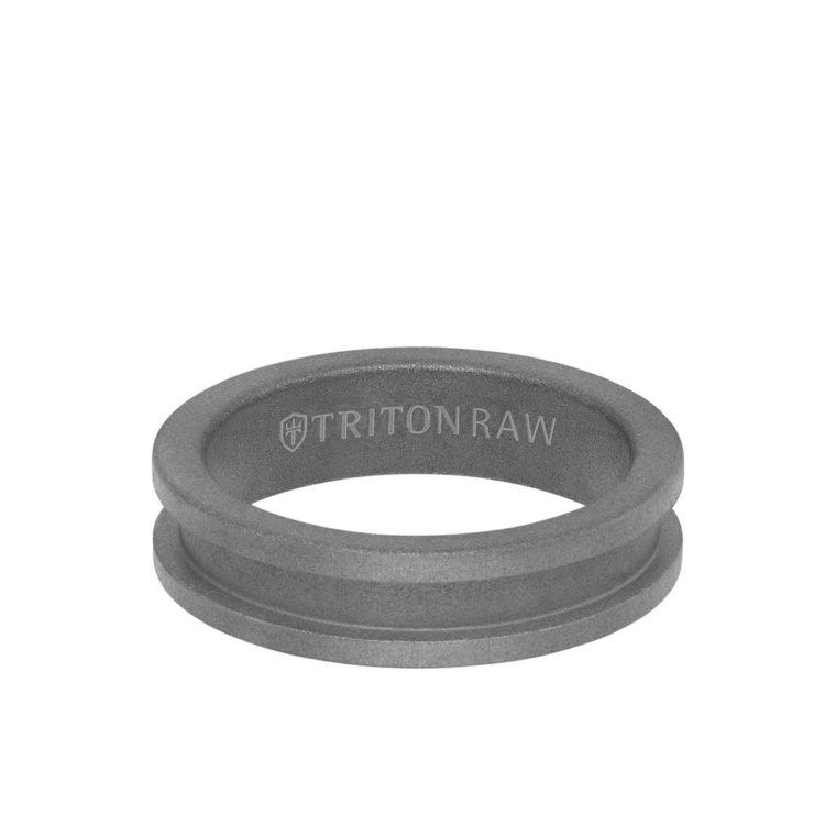 Sandblasted Matte Finish Tungsten Raw Slot Profile Ring