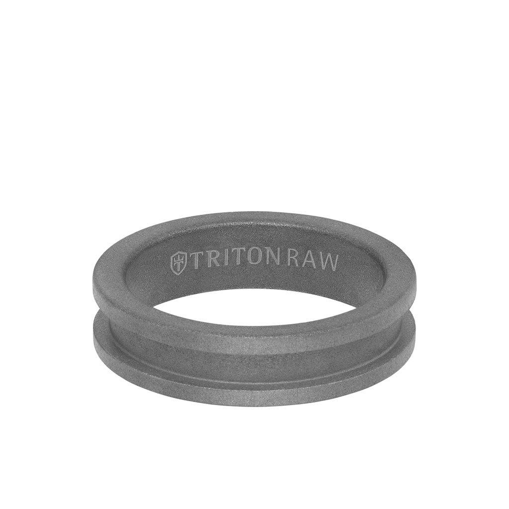 Sandblasted Matte Finish Tungsten Raw Slot Profile Ring 3