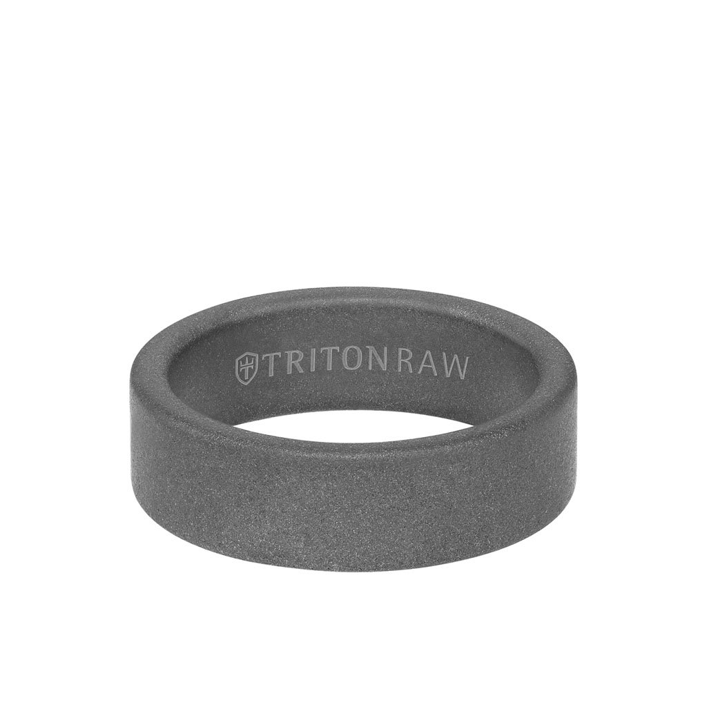 Sandblasted Tungsten Raw Matte Finish Flat Edge Ring 1