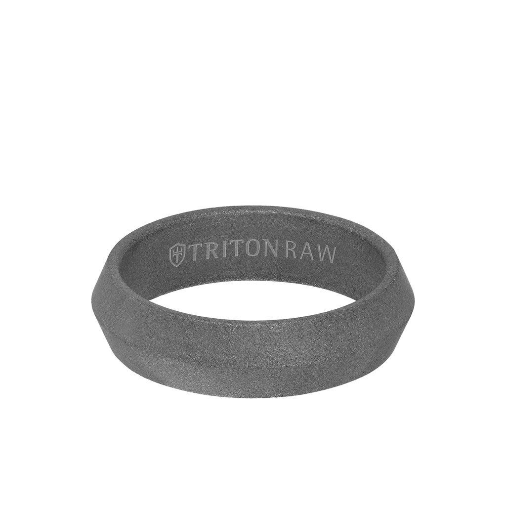 Sandblasted Matte Finish Tungsten Raw Knife Edge Pyramid Profile Ring 1