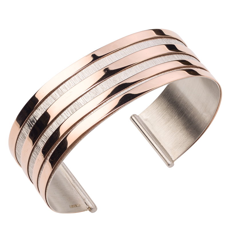 STERLING SILVER AND ROSE GOLD PLATED ECHO WAVE CUFF BRACELET-br869