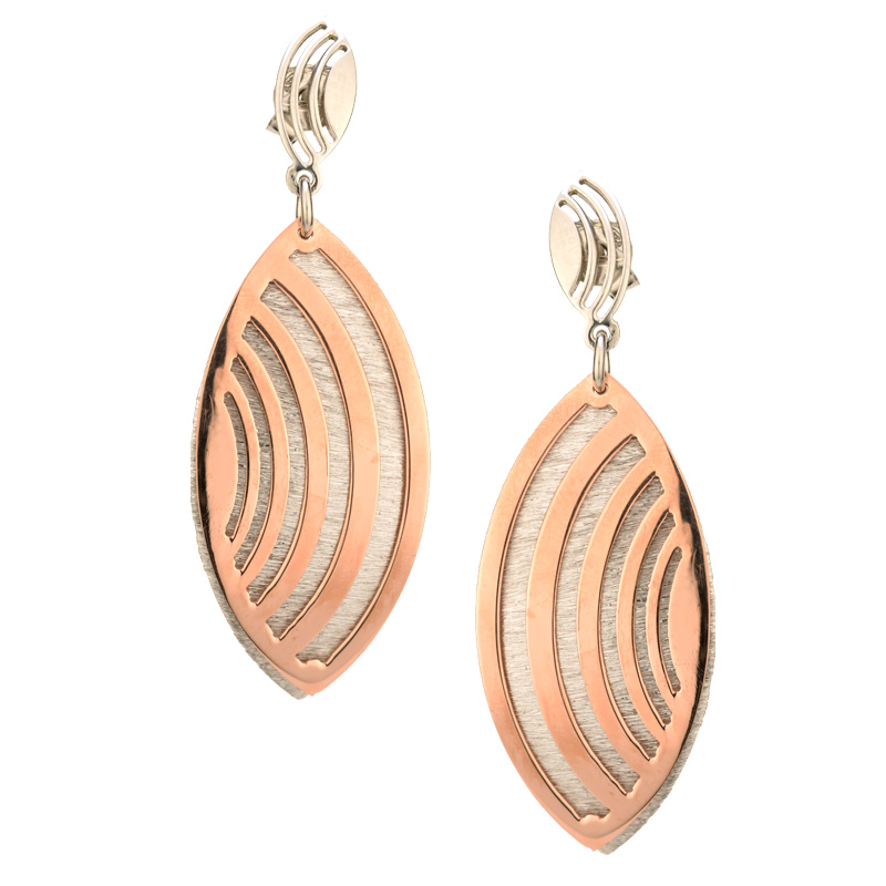 STERLING SILVER AND ROSE GOLD PLATED ECHO WAVE CUFF earrings-e869